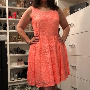 Neon Coral Peach Lace Skater Dress TAGS